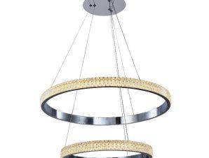 Φωτιστικό Οροφής Led 6033-A Φ60cm 7500Lm Chrome Inlight