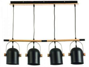 Φωτιστικό Οροφής-Ράγα 6130-4 77x102cm 4xΕ27 Black Inlight