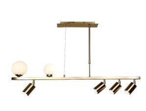 Φωτιστικό Οροφής-Ράγα 6191 110x70cm 2xG9 & 4xGU10 Gold Inlight