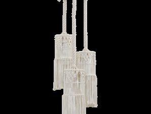 Φωτιστικό Οροφής Mac-01Pendel 3/L Macrame 31-1062 White Heronia