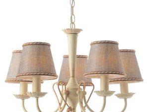 Φωτιστικό Οροφής Κρεμαστό DL8315 5XE14 Φ54cm Avignon White Patine – Grey Aca Decor